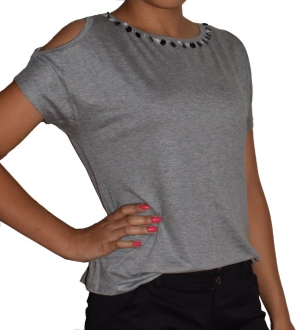 Blusa de Malha Ombro Vazado
