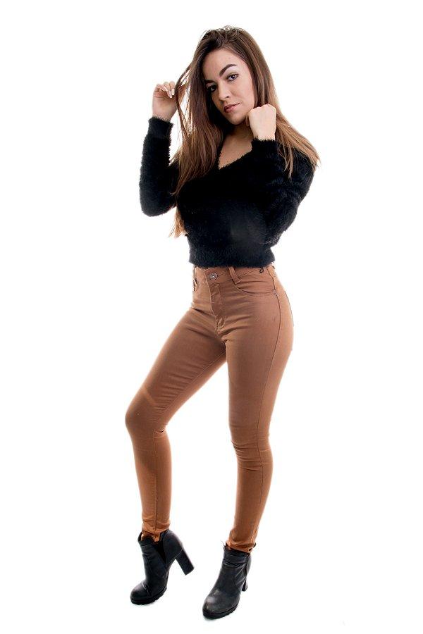 Calça Feminina HotPants Skinny Sarja Caramelo