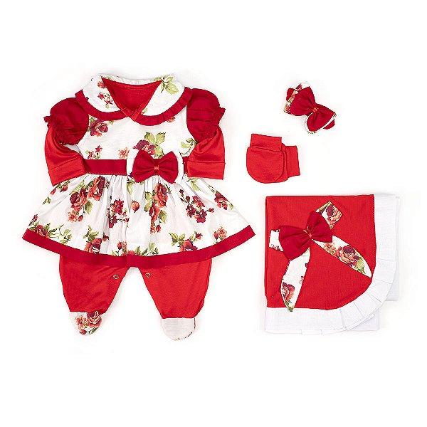 Saída Maternidade Charmosa Vermelha Floral 5 Peças