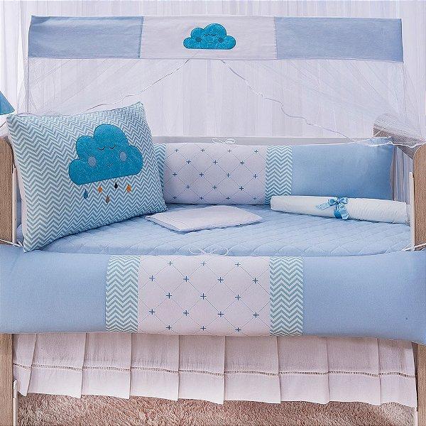 Kit Berço Luxo Nuvem Azul 10 Peças
