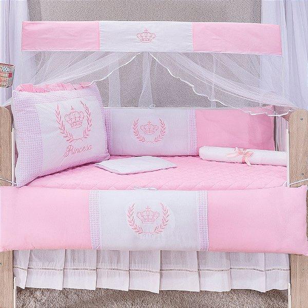Kit Berço Luxo Coroa Real Rosa 10 Peças