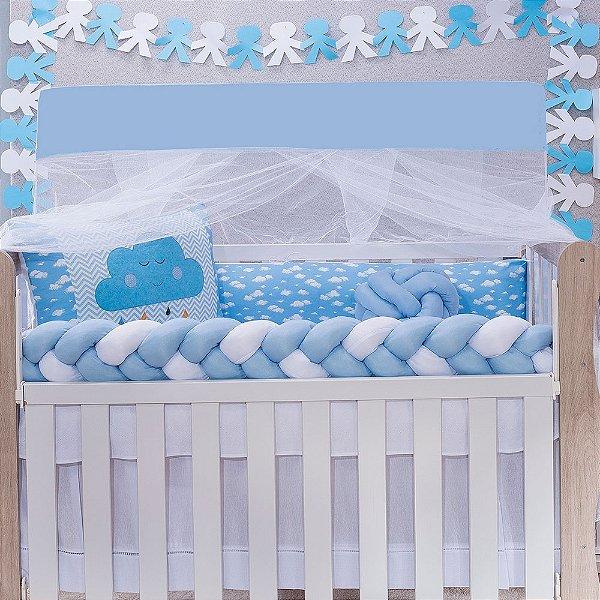 Kit Berço Star Nuvem Azul 08 Peças