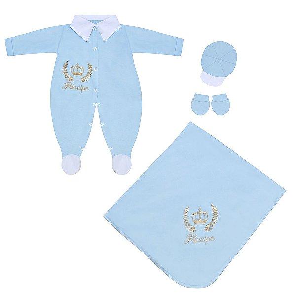 Saída Maternidade Príncipe Azul Bebê 4 Peças