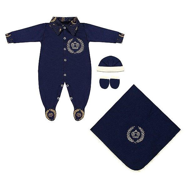 Saída Maternidade Realeza Luxo Azul Marinho 4 Peças