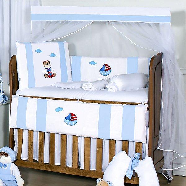 Kit Berço Urso Marinheiro Azul Bebê 10 Peças