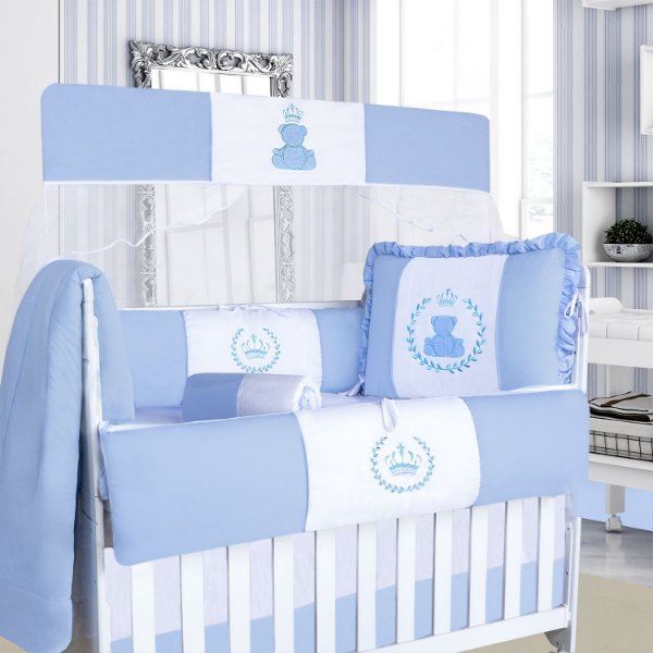 Kit Berço Urso Real Azul Bebê 9 Peças