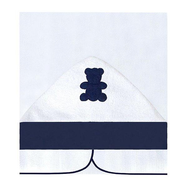 Toalha Fralda Com Capuz Realeza Azul Marinho