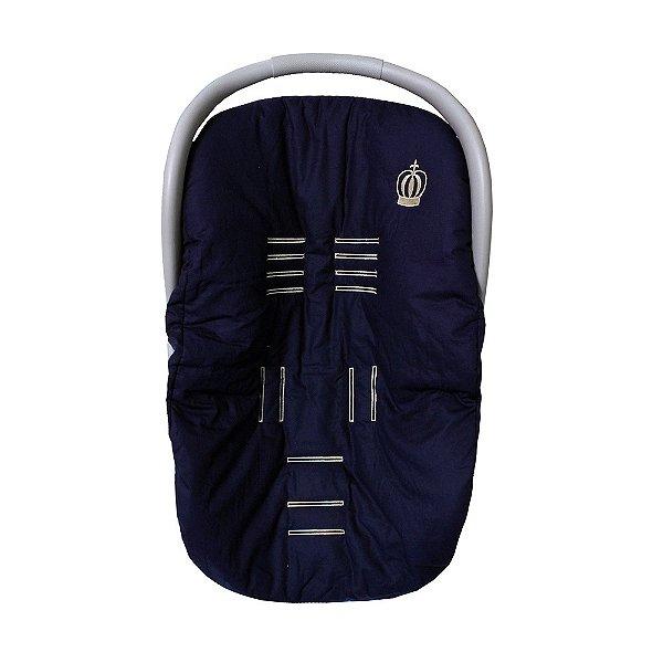 Capa Para Bebê Conforto Coroa Luxo Azul Marinho