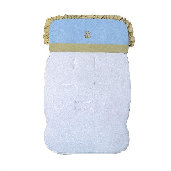 Capa Para Carrinho De Bebê Coroa Luxo Azul Bebê