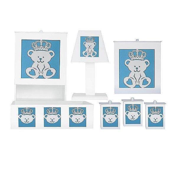 Kit Higiene Majestade Azul Bebê Mdf