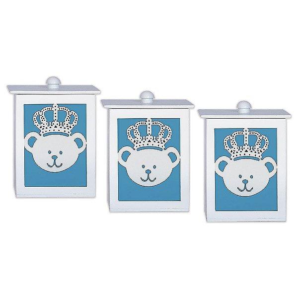 Conjunto De Potes Majestade Azul Bebê Mdf