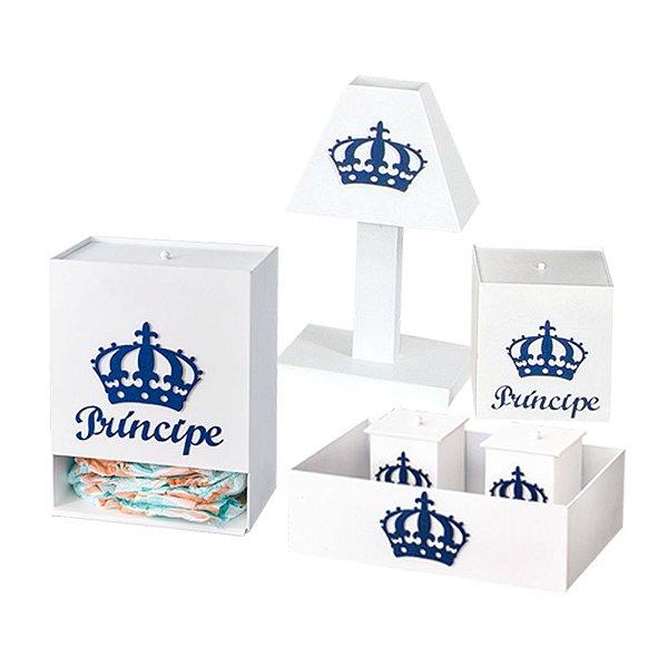 Kit Higiene Imperial Príncipe Azul Marinho Mdf