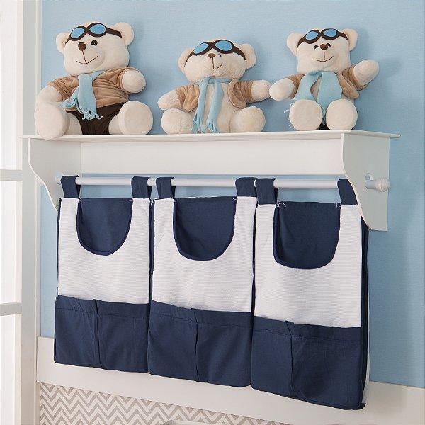 Porta Fralda de Parede Urso Dengoso Azul Marinho