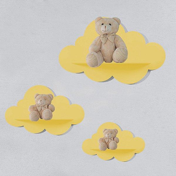 Trio de Prateleiras Nuvem Amarela MDF