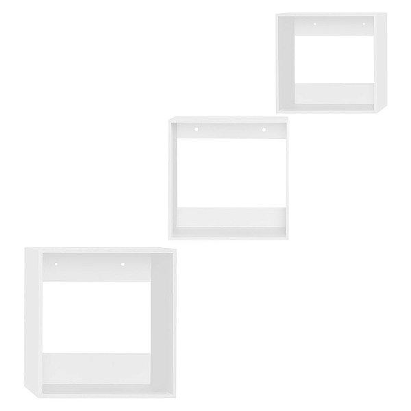 Kit de Nichos Quadrado Branco 3 Peças MDF