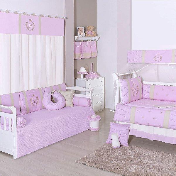Quarto De Bebê Com A Inicial Bordada Luxo Rosa
