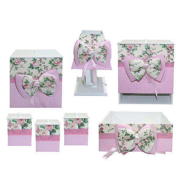 Kit Higiene Floral Luxo MDF