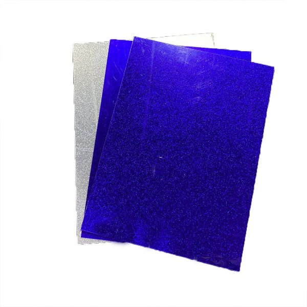 Acrílico glitter Dupla face 2mm - Placa retangular 30x40cm Roxo/prata