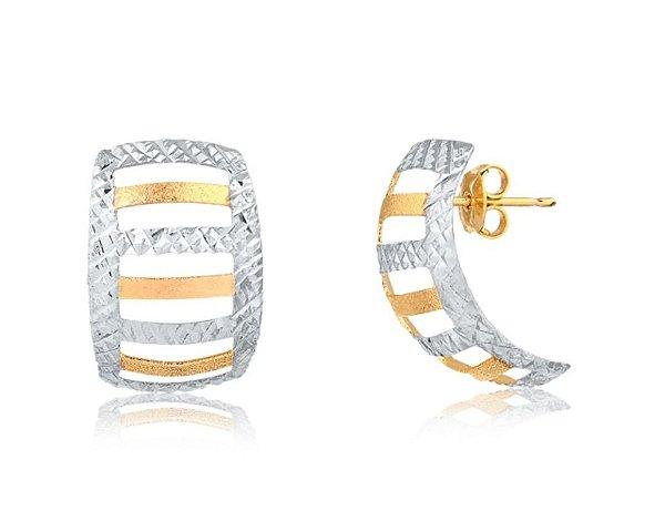 Brinco Diamantado com Ródio Branco Folheado Á Ouro 18K.