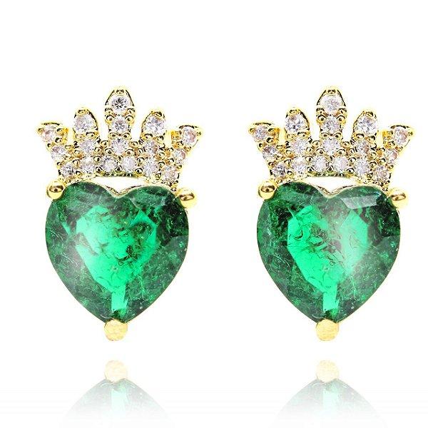 Brinco Semi Joia Coração Zircônia Verde