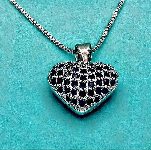 Gargantilha Folheada Rodio Coração zircônias Azul