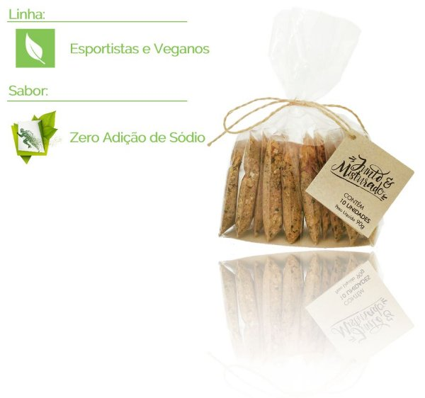 Esportistas e Veganos - Pacote com 10 misturinhas de saúde - Sabor: Zero Adição de Sódio - 90g