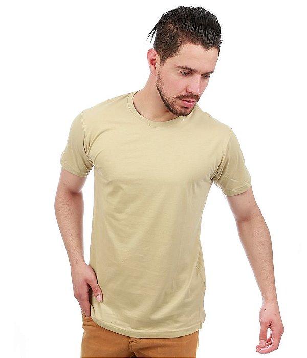 Camiseta Básica Masculina Bege Lisa 100% Algodão P/M/G/GG/XG
