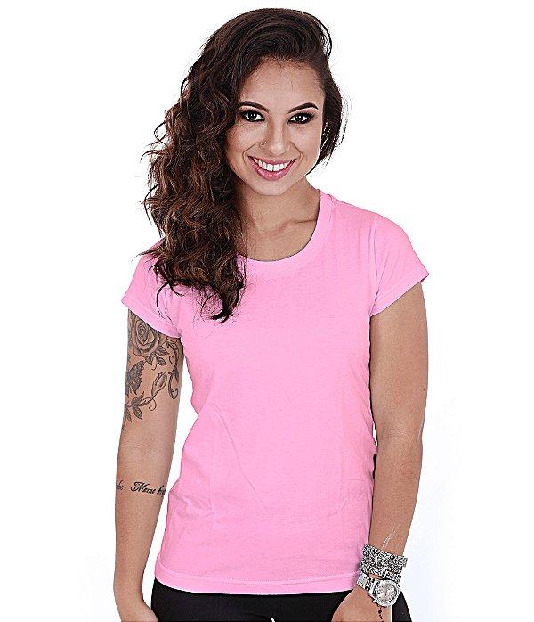 Camiseta Básica Baby Look Feminina Rosa Lisa 100% Algodão P/M/G/GG