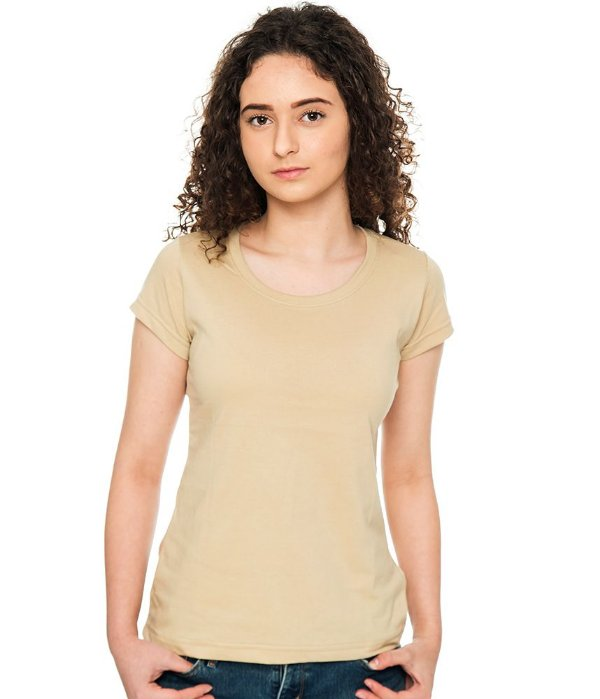 Camiseta Básica Baby Look Bege Feminina Lisa 100% Algodão P/M/G/GG