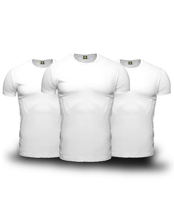 Kit 3 Camisetas Básica Masculina Branca Lisa 100% Algodão P/M/G/GG/XG