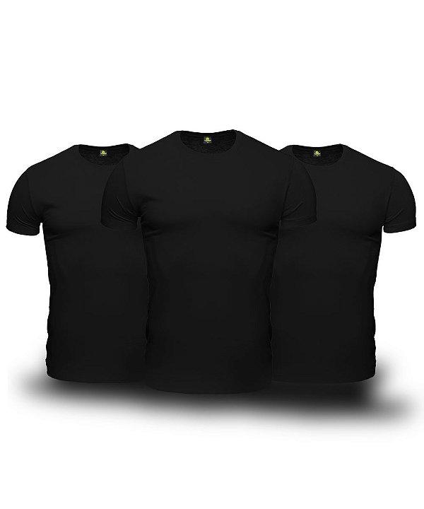 Kit 3 Camisetas Básica Masculina Preto Lisa 100% Algodão P/M/G/GG/XG