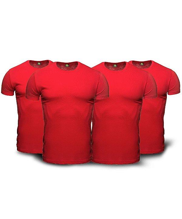 Kit 04 Camisetas Básicas Vemelhas