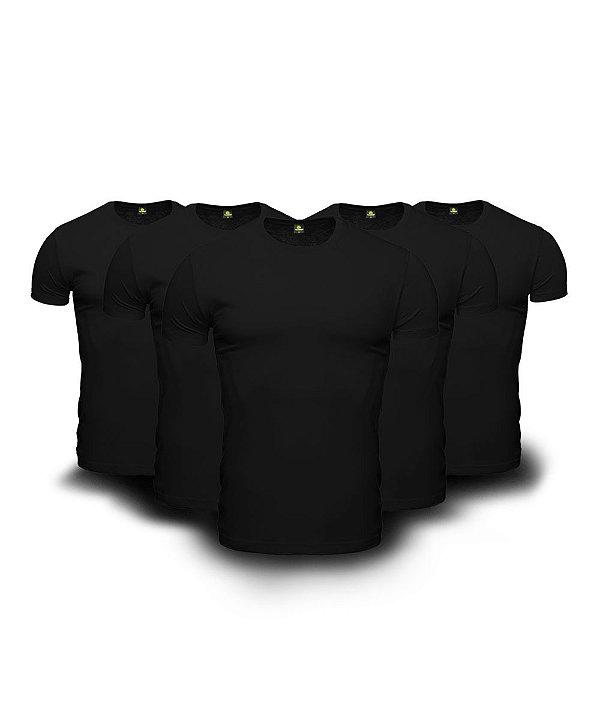 Kit 5 Camisetas Básica Masculina Preto Lisa 100% Algodão P/M/G/GG/XG
