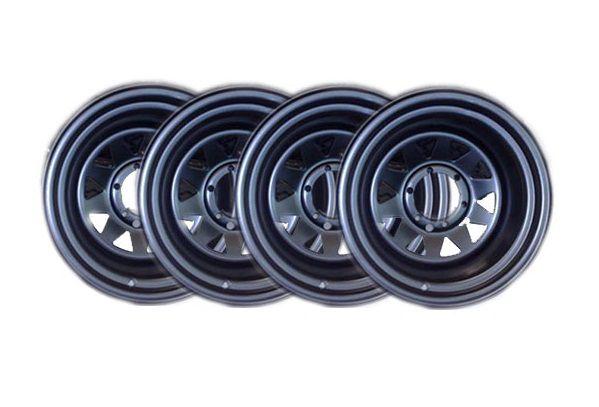 4 Rodas Triangulares em aço - 15x10 - 6 furos x 139,7 - Troller