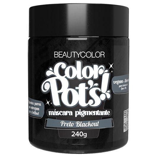 Máscara Pigmentante Color Pot's! Preto Blackout 240g - Beauty Color