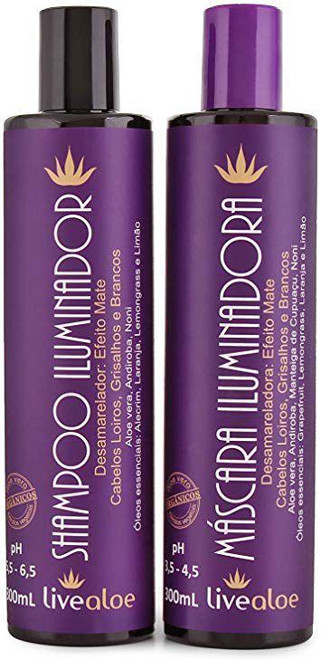 kit Shampoo Iluminador + Máscara Capilar Iluminadora Aloe Vera Desamareladora 300ml - Livealoe