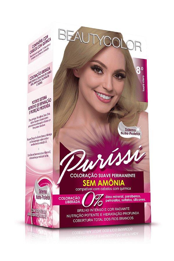 Coloração Suave Permanente Sem Amônia Puríssi - Louro Claro 8.0