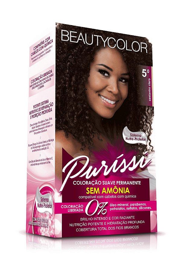 Coloração Suave Permanente Sem Amônia Puríssi - Castanho Claro 5.0