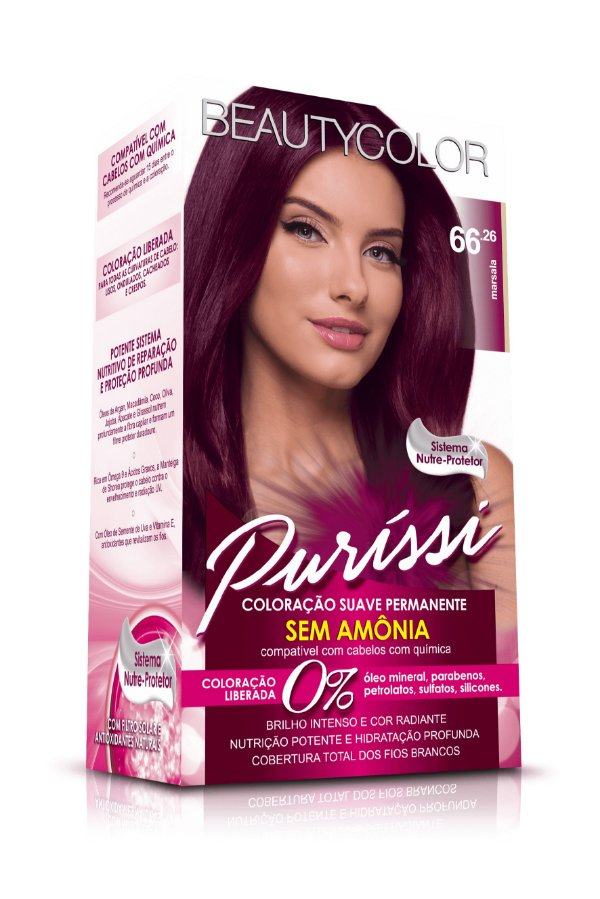 Coloração Suave Permanente Sem Amônia Puríssi - Marsala 66.26