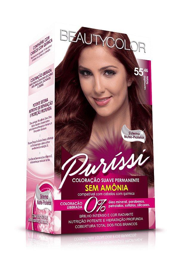 Coloração Suave Permanente Sem Amônia Puríssi - Vermelho Fatale 55.46