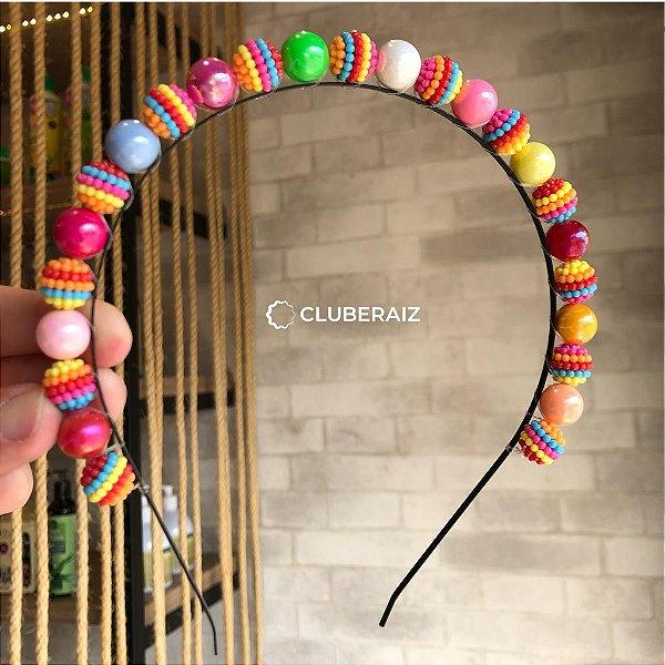 Tiara Miçanga Colorida - Clube Raiz