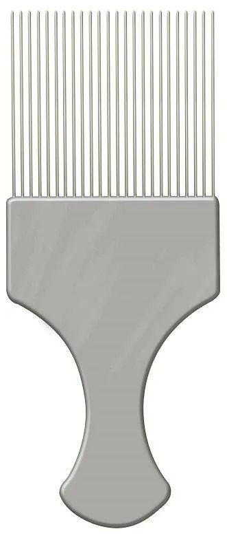 Pente Garfo Com Dentes Finos de Aço - Prata