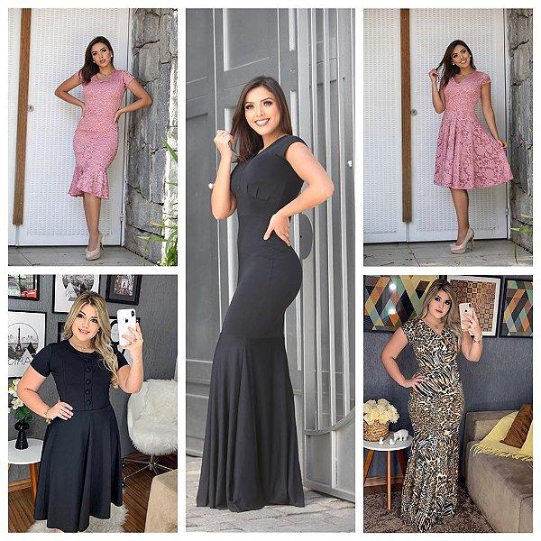 Vestidos Neoprene, Renda, Canelado e Suplex (Kit com 5)