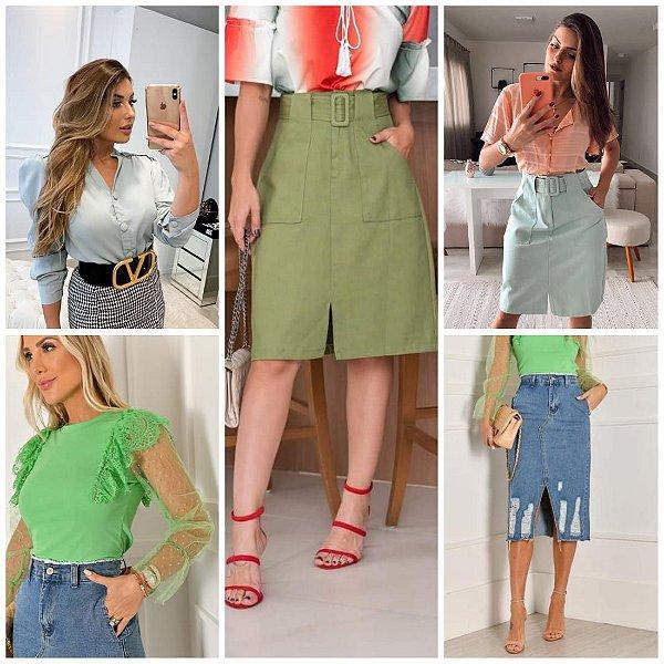 Saias Midi Jeans e Sarja Lápis e Blusas Blogueiras Importadas(Kit com 5)