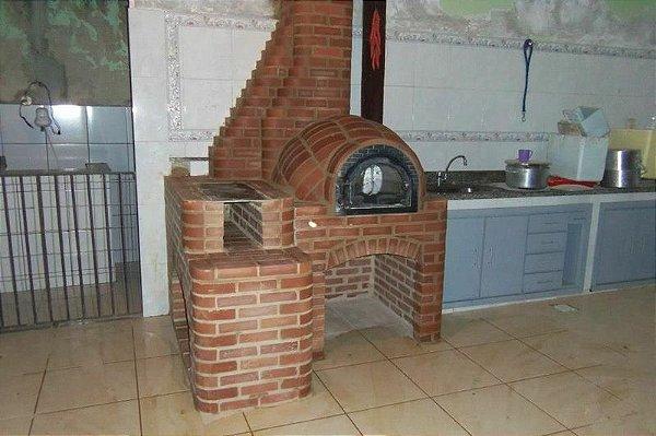 Forno de Pizza Iglu com Fogão a Lenha 3 Bocas em Tijolo maciço