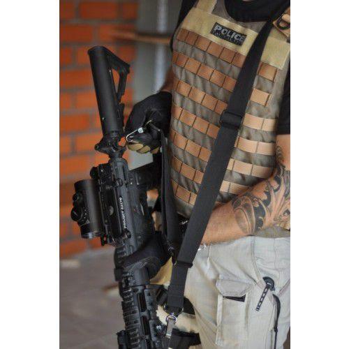 Bandoleira 3 Pontos 30mm com Mosquetão - Preta