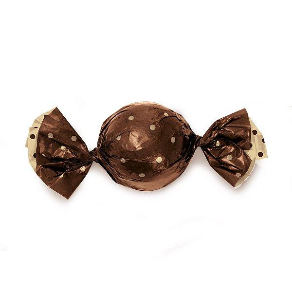 Papel Mini Trufa - 12x12,5cm - Double Face Poa Marrom Ouro - 100 unidades - Cromus - Rizzo Embalagens