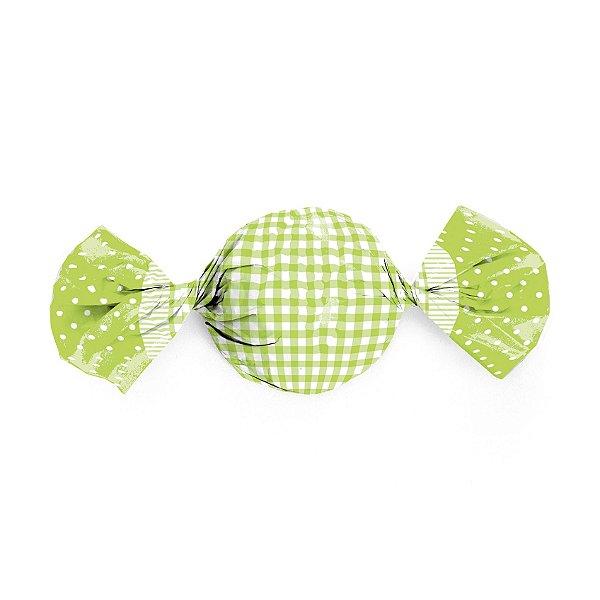 Papel Trufa 15x16cm - Xadrez Poa Verde - 100 unidades - Cromus - Rizzo Embalagens