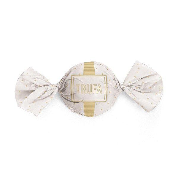 Papel Trufa 15x16cm - Petit Poa Branco_Ouro - 100 unidades - Cromus - Rizzo Embalagens