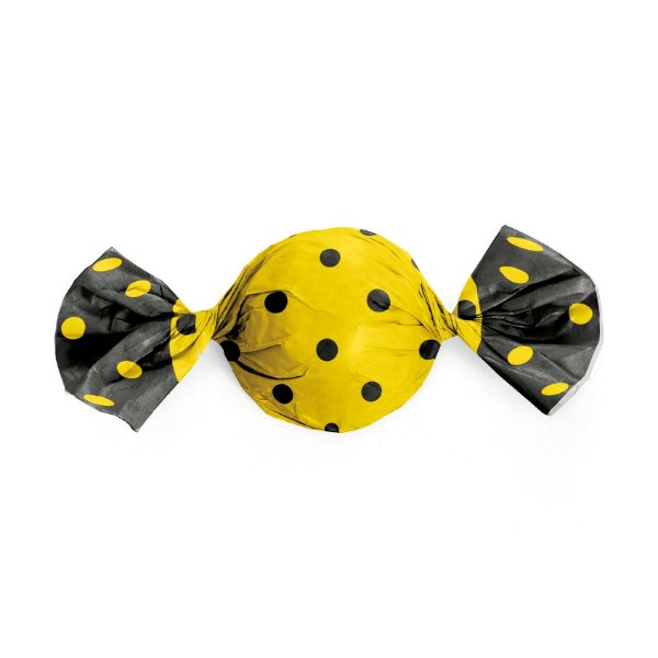 Papel Trufa Amarelo Poa Preto 15x16cm - 100 unidades - Cromus - Rizzo Embalagens